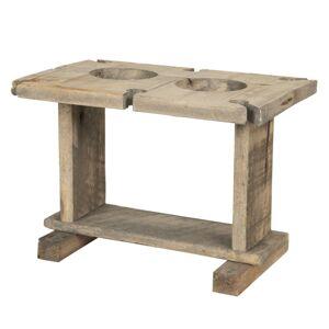 Dřevěný retro stojan na víno a sklenice - 30*20*21 cm
