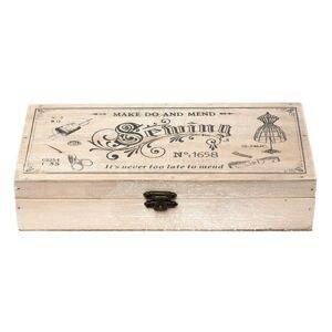 Dřevěný box na šicí potřeby - 24*12*5 cm Clayre & Eef