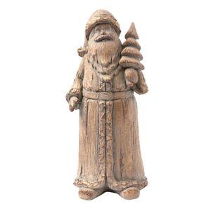 Hnědá dekorace Santa se stromkem - 8*7*18 cm Clayre & Eef