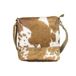 Hnědá kožená kabelka přes rameno Mitti - 35*27cm