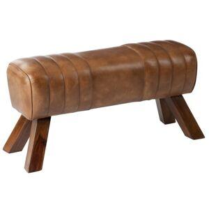 Hnědá kožená lavice v podobě gymnastické Cognac - 91*36*48 cm