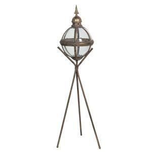 Hnědá lucerna na stativu s patinou Isaie - 35*31*107 cm