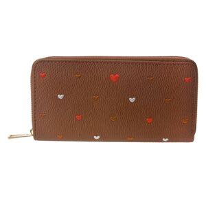 Hnědá peněženka se srdíčky - 19*10 cm