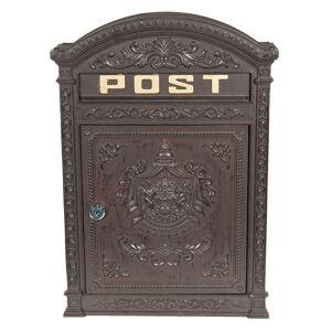 Hnědá poštovní schránka s ornamenty - 32*10*45 cm
