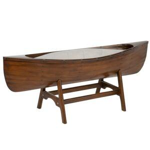 Hnědý dřevěný konferenční stolek loďka Boat - 135*42*42 cm J-Line