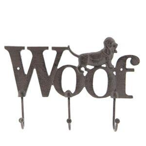 Hnědý nástěnný litinový věšák s háčky Woof - 26*4*18 cm Clayre & Eef
