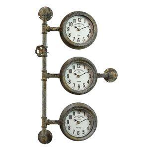 Industriální nástěnné hodiny s patinou - 69*41*16 cm Clayre & Eef