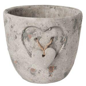 Kamenný květináč se srdíčkem - Ø 14*13 cm Clayre & Eef