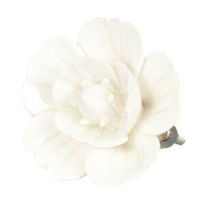 Keramická úchytka květ krémový - Ø 6 cm Clayre & Eef