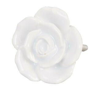 Keramická úchytka Růže bílá - pr 4,5 cm Clayre & Eef