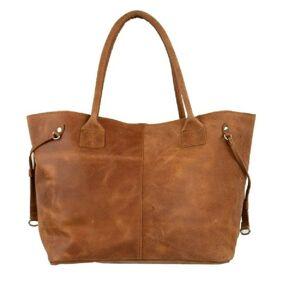 Koňaková kožená kabelka přes rameno Cognac - 50*30*15cm