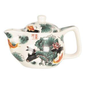 Konvička na čaj s lotosy a rybami - Ø 16*11 cm / 0,4L