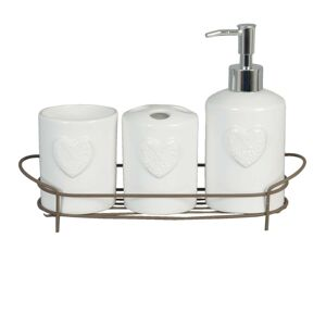 Koupelnový set bílý s dekorem srdce - 29*9*19 cm Clayre & Eef