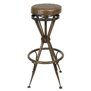 Kovová barová stolička s koženým sedákem - Ø 40*82 cm Clayre & Eef