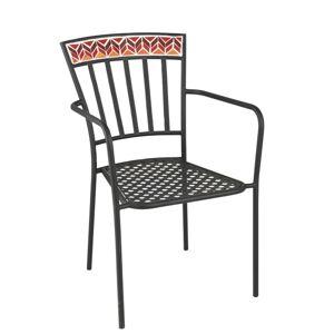 Kovová zahradní židle Square Mosaic Red - Ø53*57*85 cm J-Line