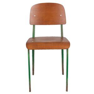 Kovová židle s dřevěným sedákem a opěrkou v retro stylu - 41*48*80 cm Clayre & Eef