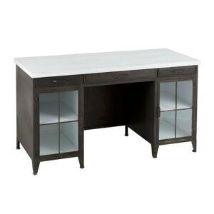 Kovový černý psací stůl s dřevěnou deskou - 140*60*77 cm J-Line