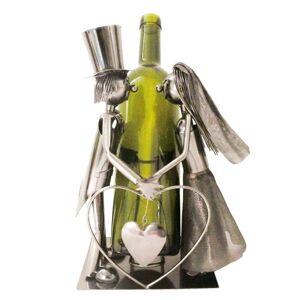 Kovový držák lahví v designu svatebního páru Chevalier - 19*13*26 cm
