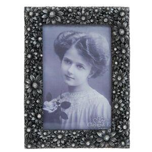 Kovový fotorámeček s kytičkami a kamínky - 13*1*17 / 10*15 cm Clayre & Eef