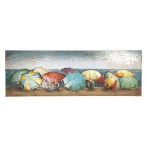 Kovový nástěnný obraz Deštníky - 180*6*60 cm