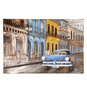 Kovový obraz na stěnu Auto ve městě - 120*5*80 cm