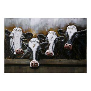 Kovový obraz na stěnu Cows - 120*80*6 cm Clayre & Eef