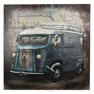 Kovový obraz s autobusem - 80*80*5 cm Clayre & Eef