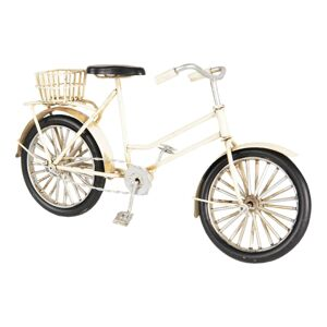 Kovový retro model bílého kola s košíkem - 23*7*12 cm