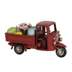 Kovový retro model červená rikša s nákladem - 16*7*8 cm