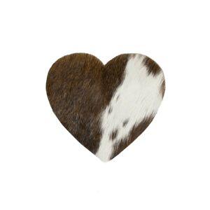 Kožený podtácek ve tvaru srdce hnědá / bílá (bos taurus, taurus) - 14*14*0,3cm