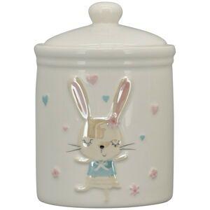 Krémová keramická dóza s perleťovým králíčkem - Ø10*15cm Exner