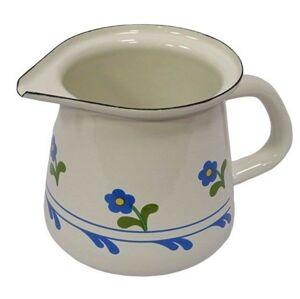 Krémová květinová smaltovaná mlékovka s květy Flower -11,5cm - 0.4L