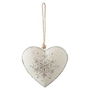 Krémové závěsné plechové srdce - 10*1*11 cm Clayre & Eef
