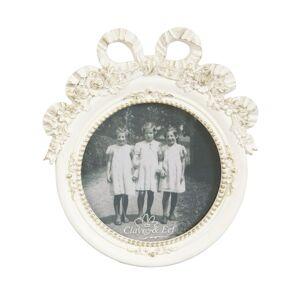 Krémový fotorámeček s mašlí a květy - 14*15 cm / 10*10 cm Clayre & Eef