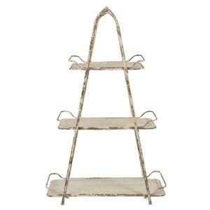 Krémový kovový vintage stojan / etažér s patinou - 73*35*118 cm