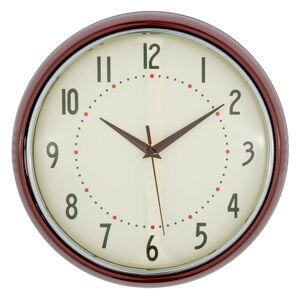 Kulaté retro hodiny ve vínové barvě - Ø 28*8 cm Clayre & Eef