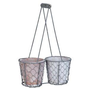 Květináče v drátěném košíku  - 22*11*21 cm / Ø 10*9 cm (2) Clayre & Eef
