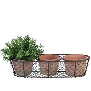 Květináčky v drátěném košíčku - 37*8*13 cm Esschert design