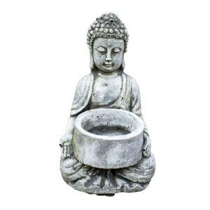 Malá betonová dekorace sedící Buddha na čajovou svíčku - 7,5*7,5*10cm Pierre Design