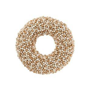 Měděno-krémový perličkový věnec Baubles - Ø 50cm J-Line by Jolipa