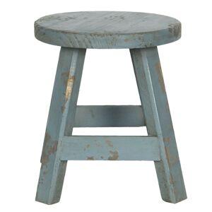 Modrá dekorační stolička s patinou - 16*16*18 cm