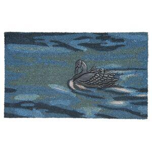 Modrá rohožka před dveře s labutěmi - 75*45*2 cm