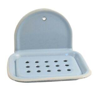 Modrá smaltovaná nástěnná mýdlenka Blue dot - 13*10cm