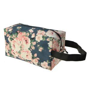 Modrá toaletní taška s květy  - 24*13 cm Clayre & Eef