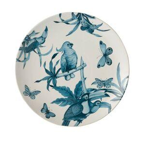 Modro-bílý keramický talíř Birds - Ø 35 cm