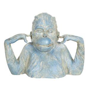 Modro-krémová dekorace opice Singe - 24*11*19 cm
