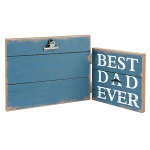 Modrý dřevěný fotorámeček Best Dad  - 30*2*15 cm / 13*18 cm Clayre & Eef