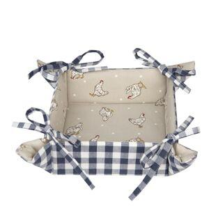 Modrý textilní košíček na pečivo Lucky Chicken - 35*35*8 cm Clayre & Eef