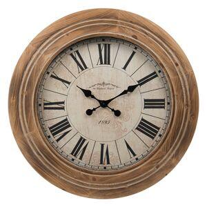Nástěnné hodiny s římskými číslicemi a masivním dřevěným rámem - Ø 67*5.5 cm Clayre & Eef