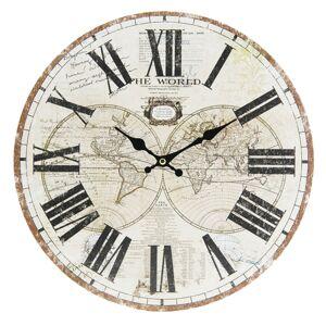 Nástěnné hodiny The World - Ø 34*4 cm Clayre & Eef